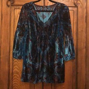 APT 9 - XL Velvet Blue/Wine pattered blouse